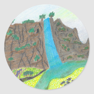 Sunny Falls Cliff and Meadow Scenic Stickers