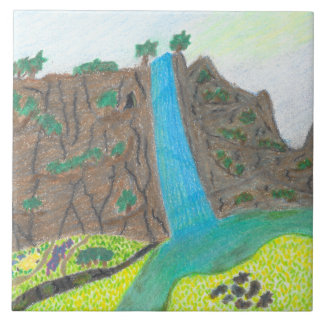 Sunny Falls Cliff and Meadow Scenic Tile