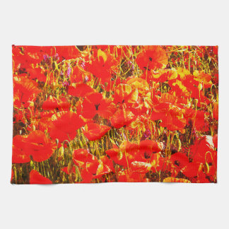 Sunny Field of Red Poppies Wildflowers Art Design Tea Towel