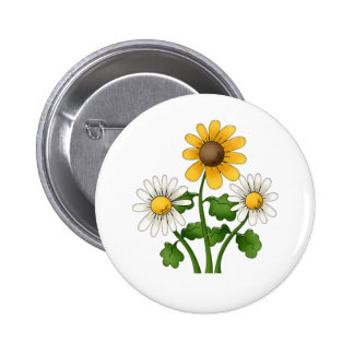 Sunny Flowers 6 Cm Round Badge
