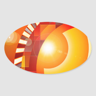 Sunny geometric abstraction oval sticker