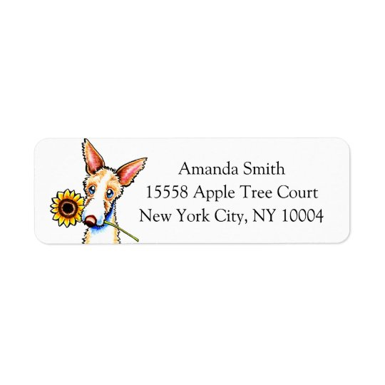 Sunny Ibizan Hound Off-Leash Art™ Custom Return Address Label