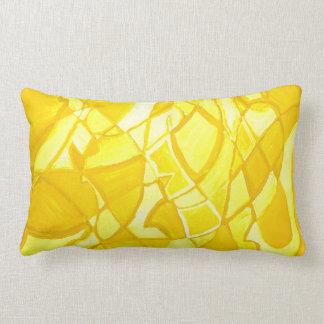 Sunny Lemon Yellow Abstract Modern Art PIllow