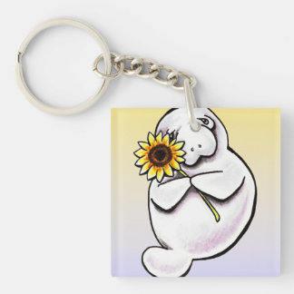 Sunny Manatee Off-Leash Art™ Key Ring