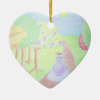 Sunny Morning Walk Ceramic Heart Decoration