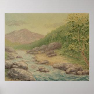 Sunny Mountain River Landscape Poster