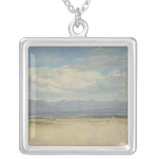 Sunny Mountainous Panorama, 1829 Silver Plated Necklace