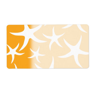 Sunny Orange and White Starfish Pattern.