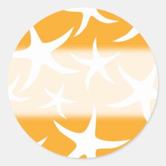 Sunny Orange and White Starfish Pattern. Classic Round Sticker