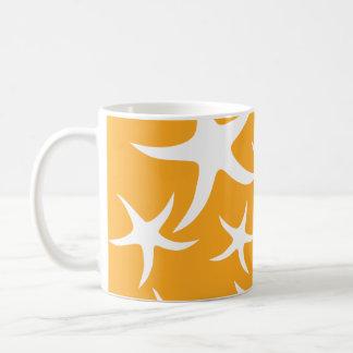 Sunny Orange and White Starfish Pattern. Coffee Mug