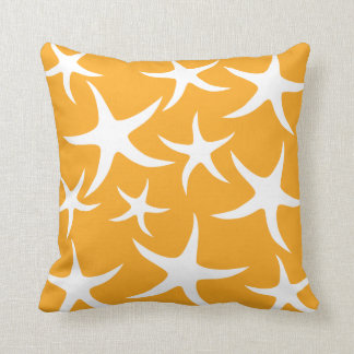 Sunny Orange and White Starfish Pattern. Cushion