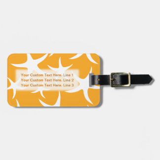 Sunny Orange and White Starfish Pattern. Luggage Tag