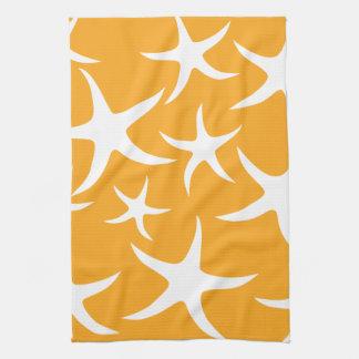Sunny Orange and White Starfish Pattern. Tea Towel