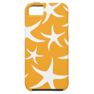 Sunny Orange and White Starfish Pattern. Tough iPhone 5 Case