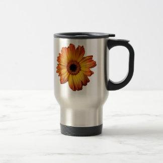 Sunny Orange gerbera flower bloom Stainless Steel Travel Mug