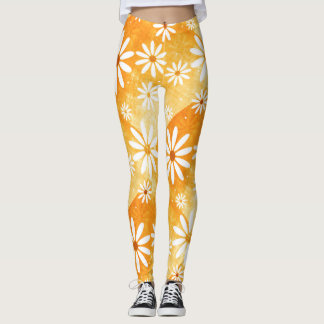 sunny orange gold with daisies patterned leggings