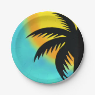 SUNNY PALM TREE PAPER PARTY PLATE