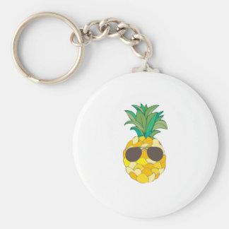 Sunny Pineapple Basic Round Button Key Ring