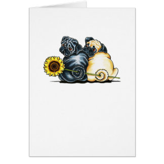 Sunny Pugs Note Card