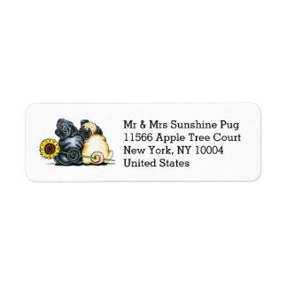 Sunny Pugs Personalized Return Address Label
