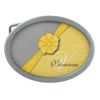 Sunny Ribbon, Two Tone Yellow Waves Grey Fabric Belt Buckles