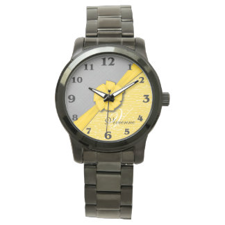 Sunny Ribbon, Two Tone Yellow Waves Grey Fabric Watch