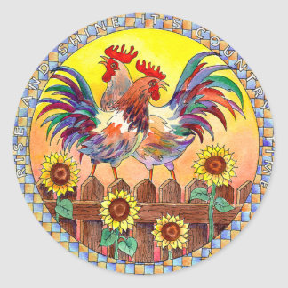 SUNNY ROOSTERS by SHARON SHARPE Classic Round Sticker