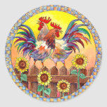 SUNNY ROOSTERS by SHARON SHARPE Round Sticker