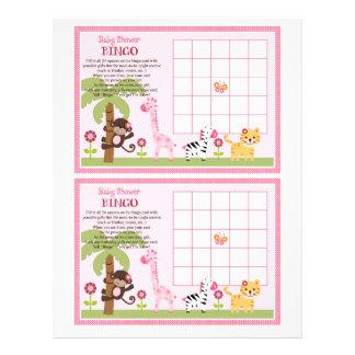 """Sunny Safari Girl Animal """"Baby Shower Bingo"""" sheet 21.5 Cm X 28 Cm Flyer"""