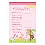 Sunny Safari Girl Animals Wishes for Baby Shower Custom Stationery
