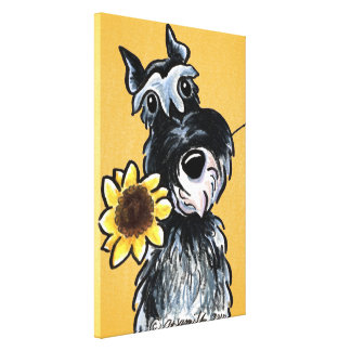 Sunny Schnauzer Sunflower Off-Leash Art™ Drawing Canvas Prints