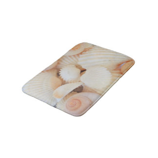 Sunny Seashells Bath Mat Summer Beach Exotic Shell