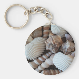 Sunny Seashells Collection Nature Summer Basic Round Button Key Ring