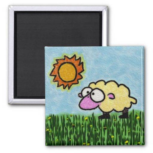 Sunny Sheep Fridge Magnet
