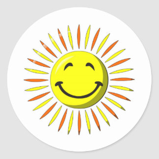 Sunny Smiley Face Round Sticker