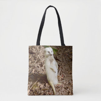 Sunny Smiling White Meerkat, Shopping Tote Bag