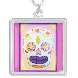SUNNY SUGAR SKULL IN BRIGHTS SILVER PLATED NECKLACE