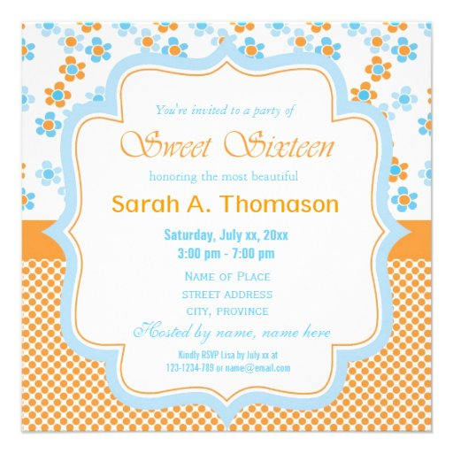 Sunny summer flowers yellow sweet sixteen birthday personalized invites