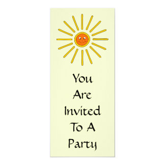 Sunny Summer Sun. Yellow on Cream. 10 Cm X 24 Cm Invitation Card