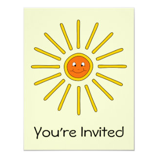 Sunny Summer Sun. Yellow on Cream. 11 Cm X 14 Cm Invitation Card