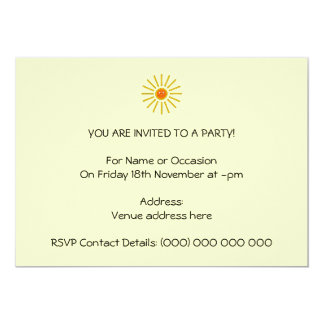 Sunny Summer Sun. Yellow on Cream. 13 Cm X 18 Cm Invitation Card