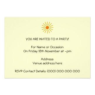 Sunny Summer Sun Yellow on Cream Custom Invites