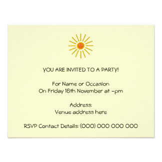 Sunny Summer Sun Yellow on Cream Personalized Announcements