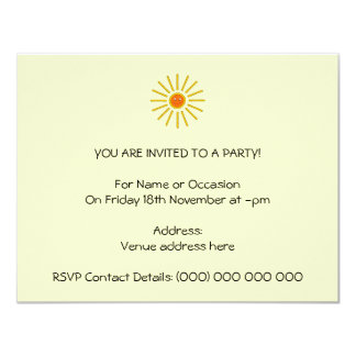 Sunny Summer Sun. Yellow on Cream. Personalized Announcements