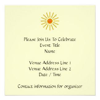 Sunny Summer Sun Yellow on Cream Personalized Invitation