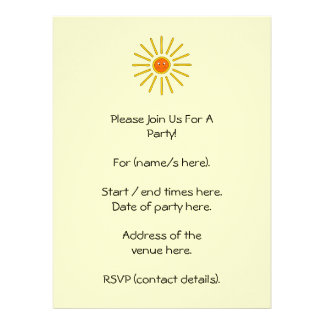 Sunny Summer Sun Yellow on Cream Personalized Announcement