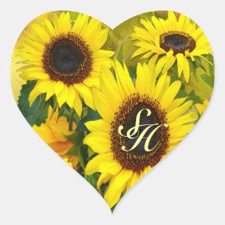 Sunny Sunflowers Heart Sticker