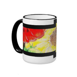 Sunny sunflowers ringer mug
