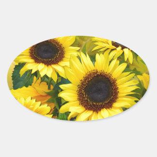Sunny Sunflowers Oval Sticker