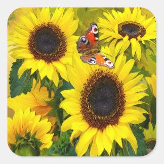 Sunny Sunflowers Square Sticker